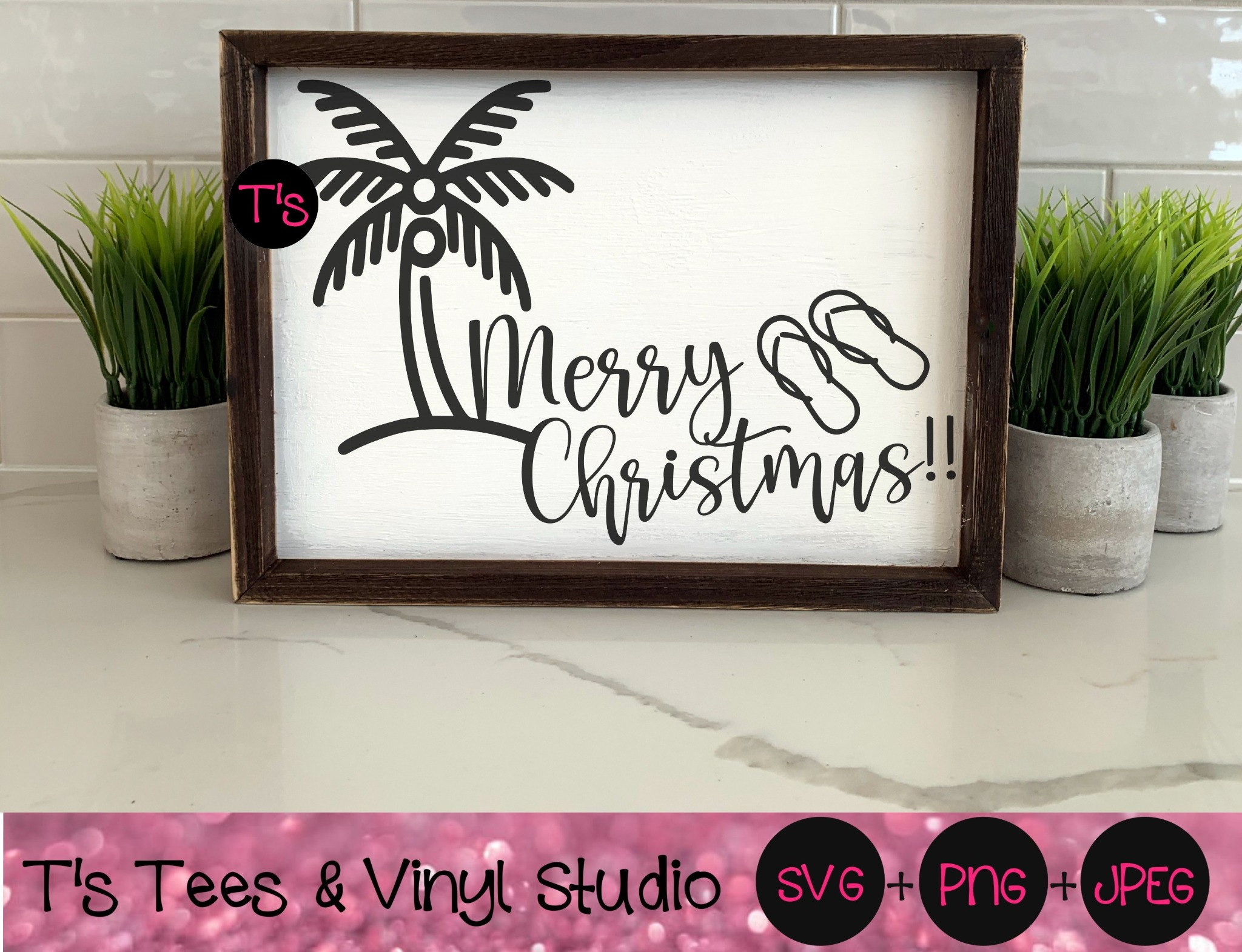 Merry Christmas Svg, Summer Christmas Svg, Palm Tree Svg, Flip Flops Svg, Holiday, Non Traditional,