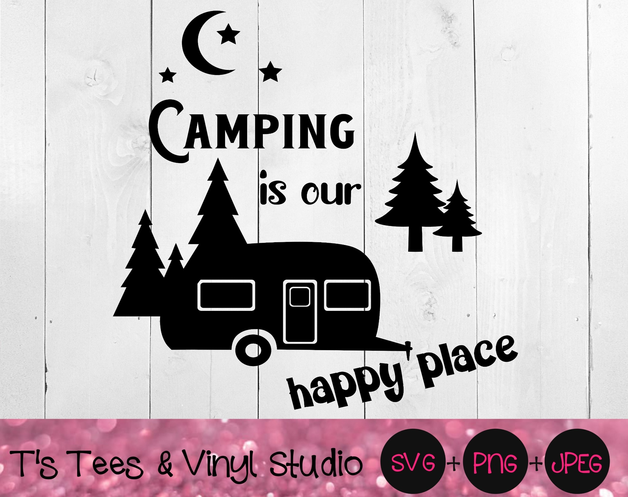 Camping Svg, Camper Png, RV, Our Happy Place, Bucket Light Cut File, Love Camping, Summer, Outdoors,
