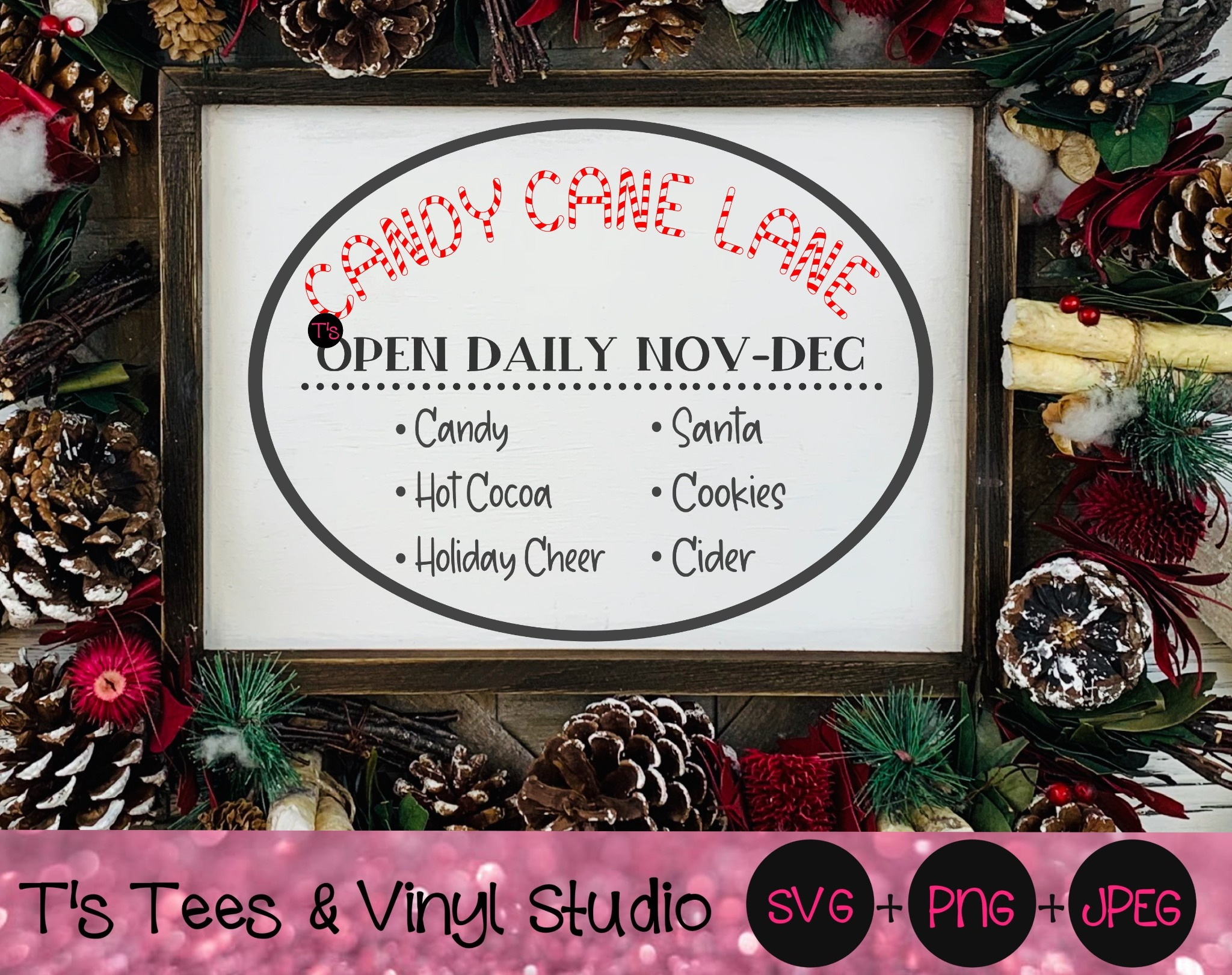 Christmas Sign Svg, Candy Cane Lane, Candy Canes, Santa, Hot Cocoa, Cider, Cookies, Holiday Cheer, O