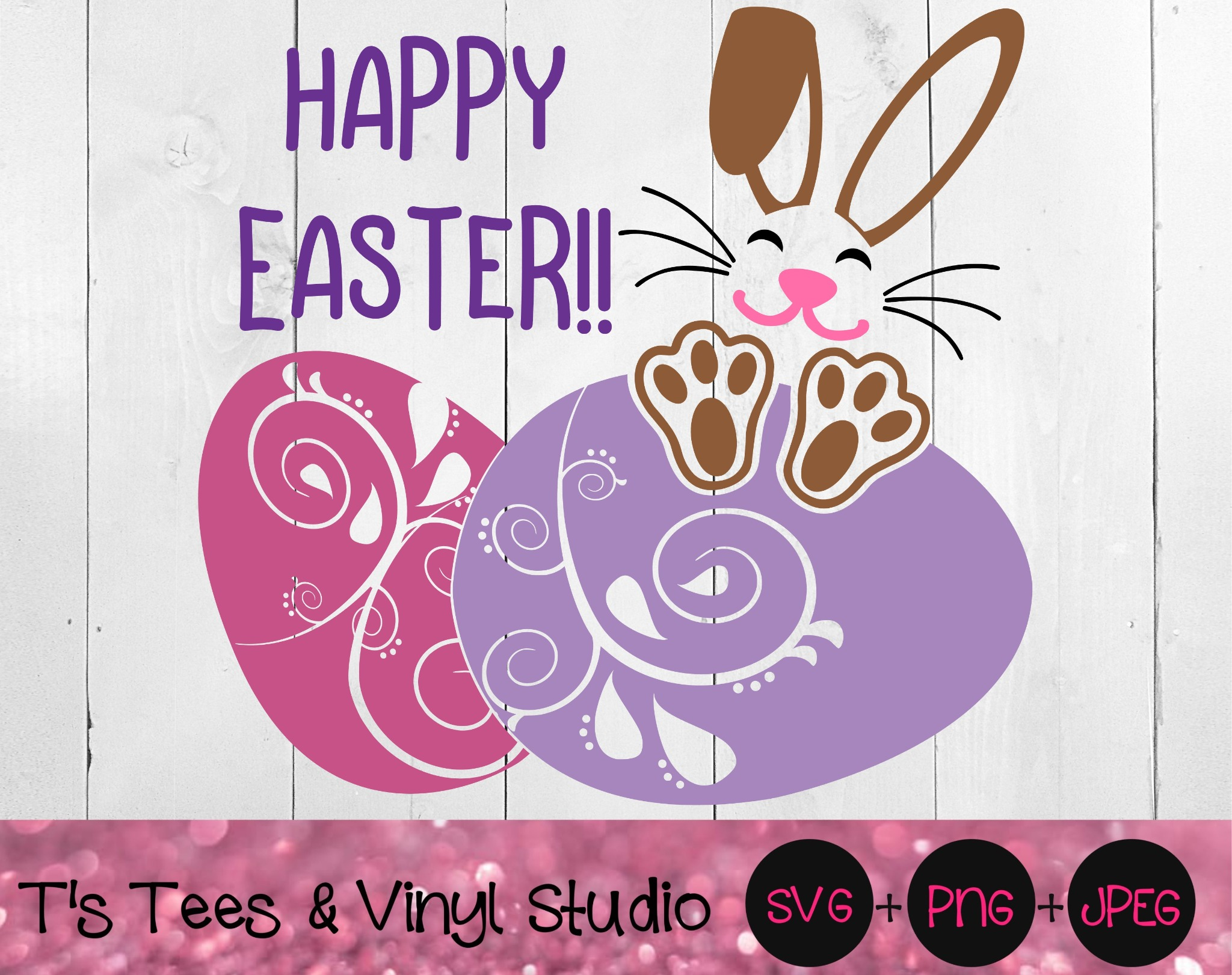 Happy Easter Svg, Easter Bunny, Easter Eggs, Floppy Ears, Bunny Rabbit, Decorated Eggs, He Is Risen,