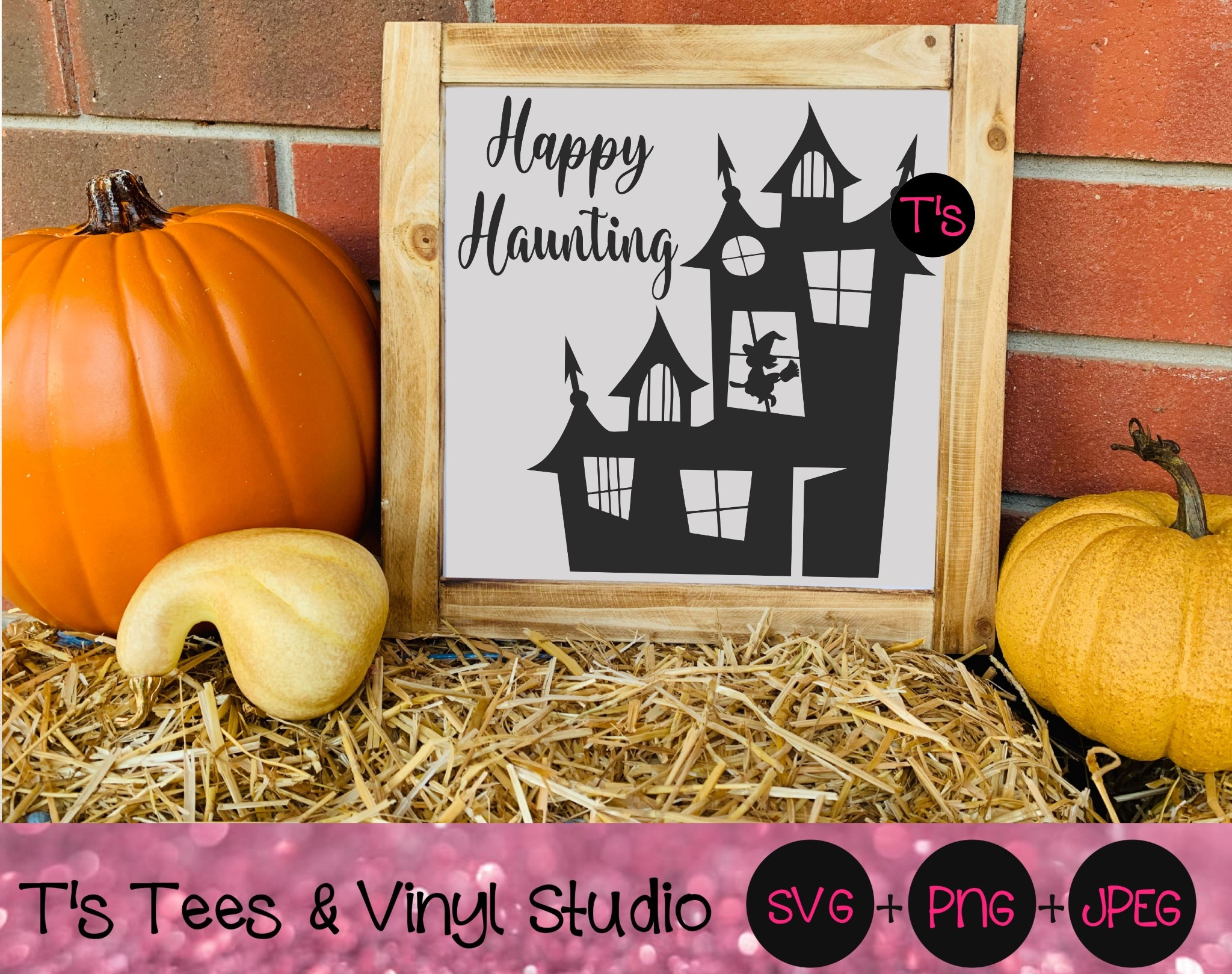Happy Haunting Svg, Happy Halloween Svg, Halloween Svg, Witch Svg, Spooky Svg, Haunted House Svg