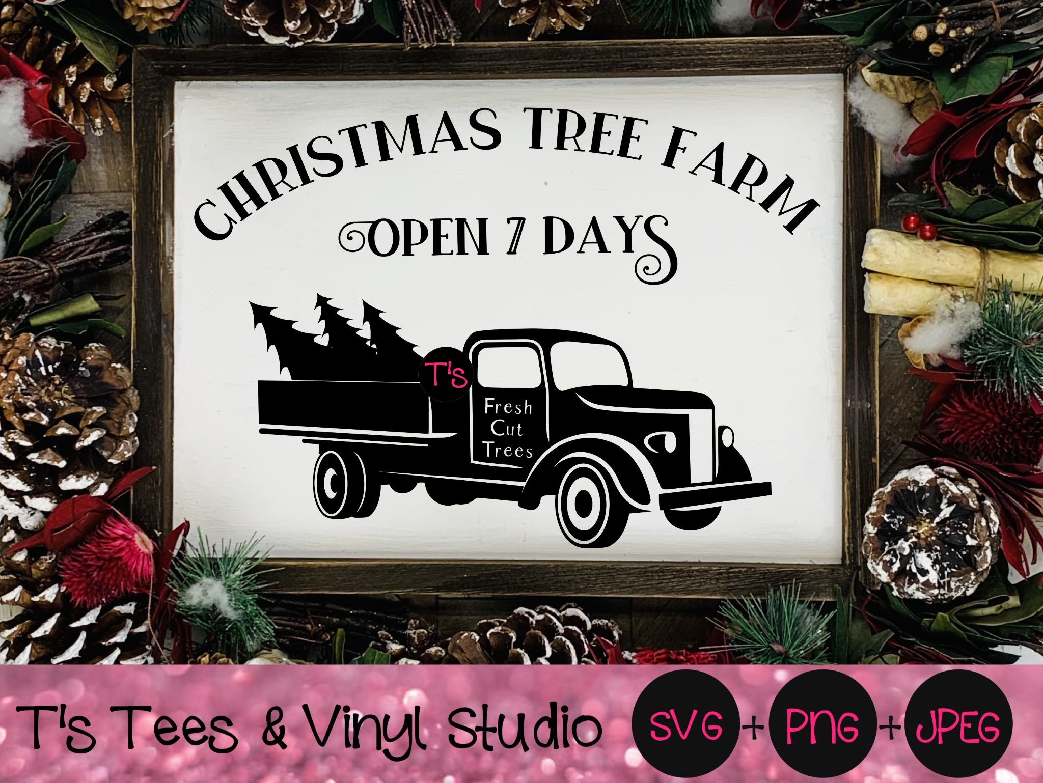 Christmas Tree Farm Svg, Vintage Truck Svg, Merry Christmas Svg, Old Time Christmas, Country Sign