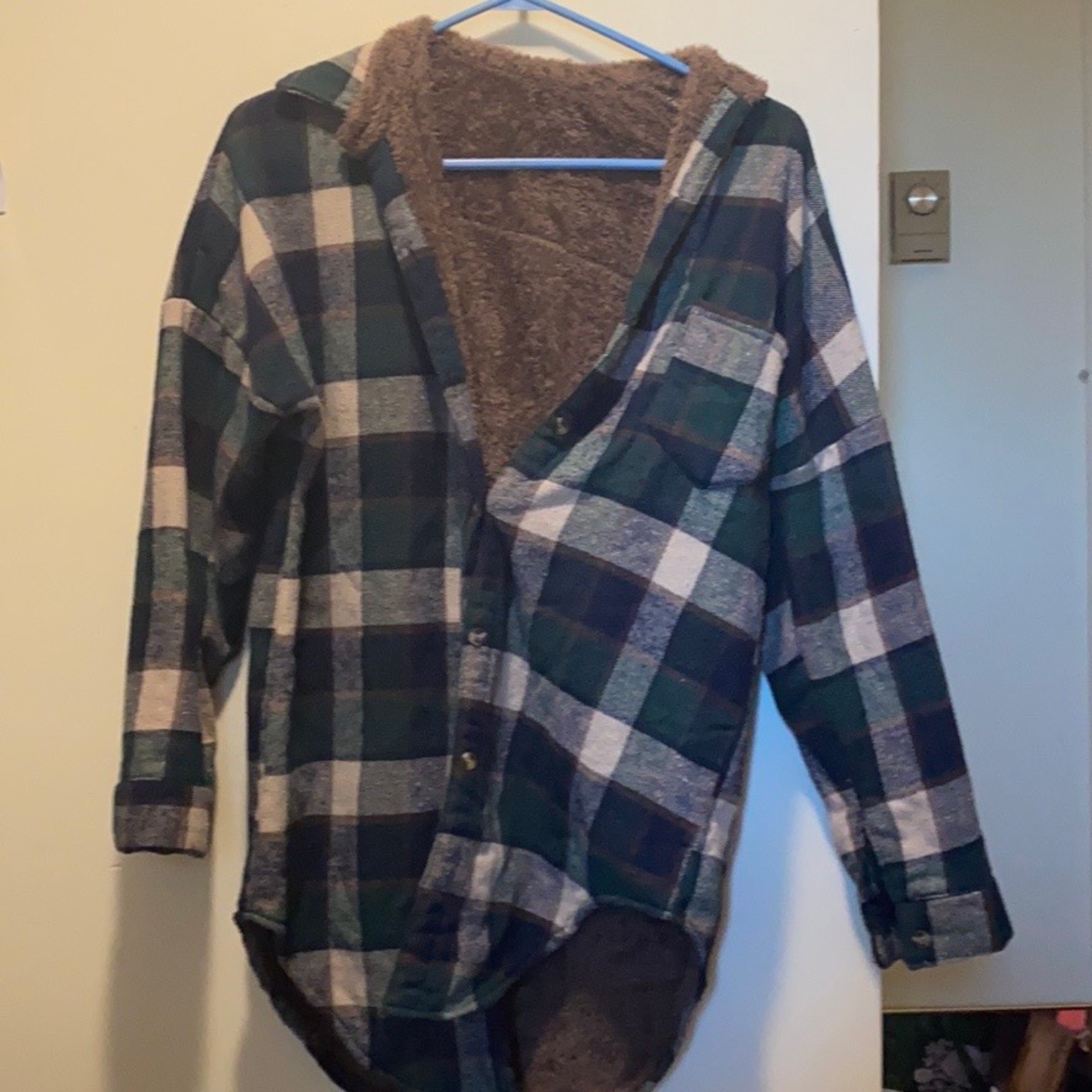 Cozy button up flannel with fleece lining