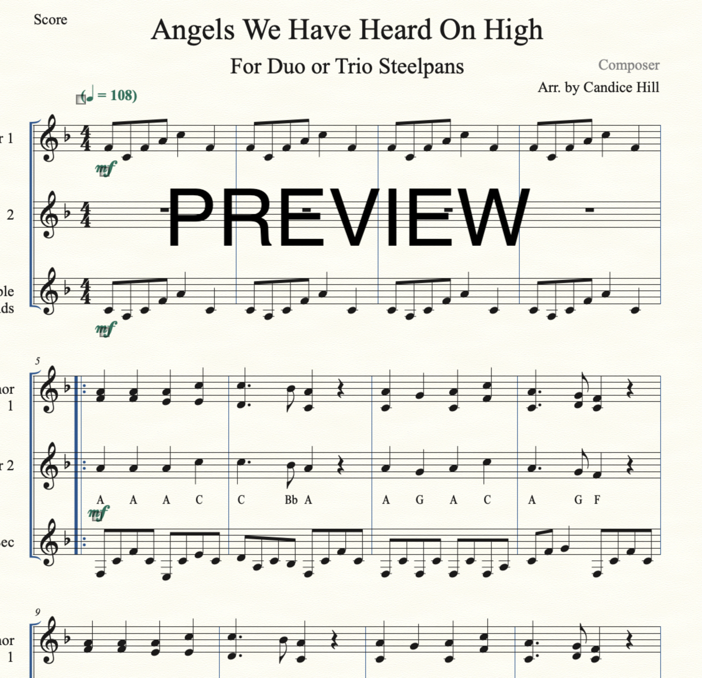 Angels We Have Heard On High Steelpan Duo or Trio