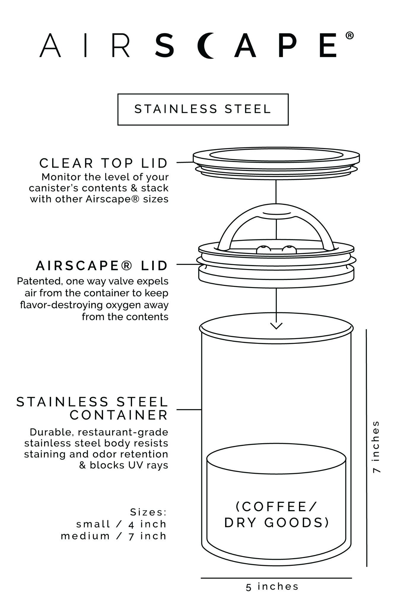The original Airscape® stainless steel coffee canister | 500gr