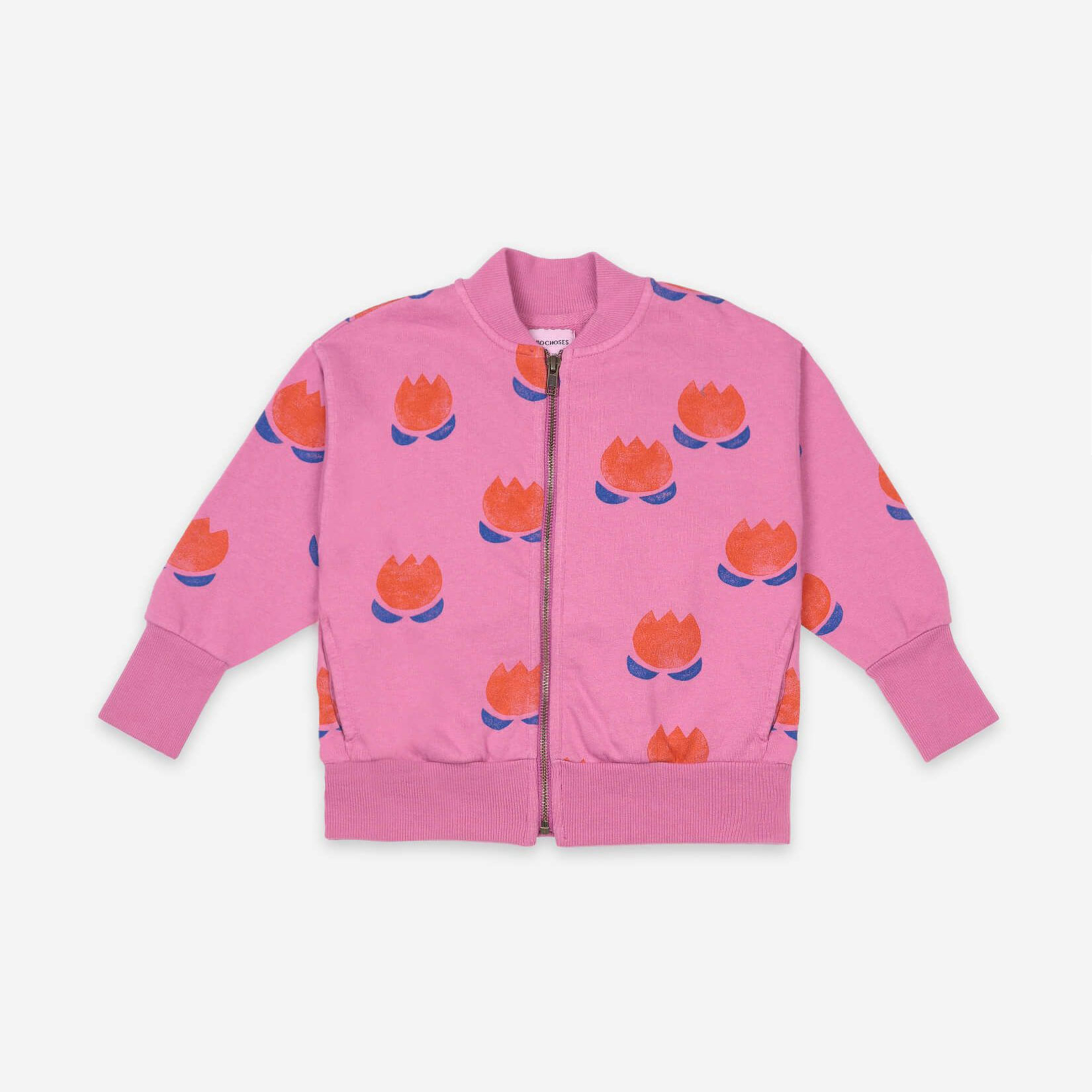 Bobo Choses - Chocolate Flower All Over Zipped Sweatshirt