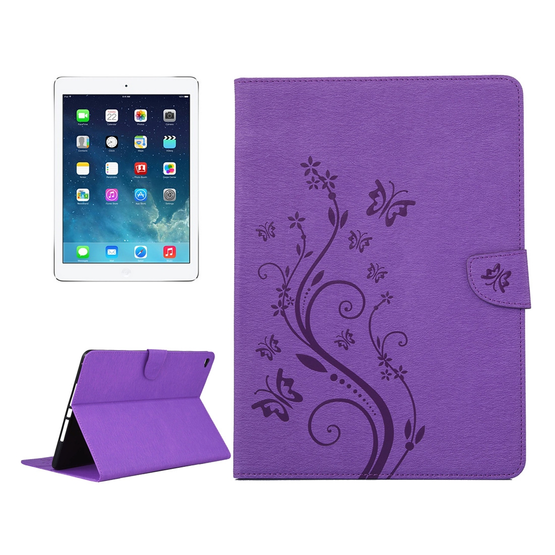 iPad Air 2 Case Floral Butterfly Leather Case w/ Magnetic Buckle, Slim Profile (Purple)