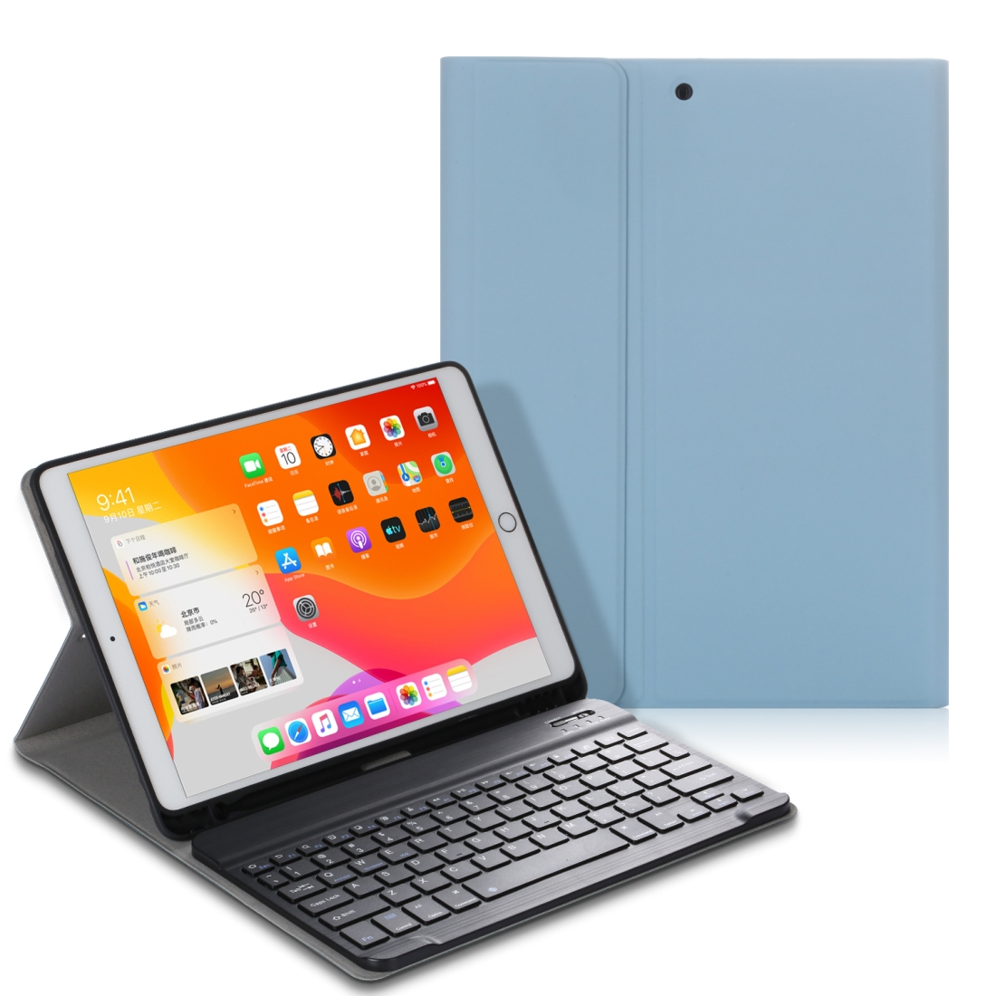 iPad Case With Keyboard & Bluetooth For iPad 10.2 Inch, Leather Case & Backlit Keyboard (Light Blue)
