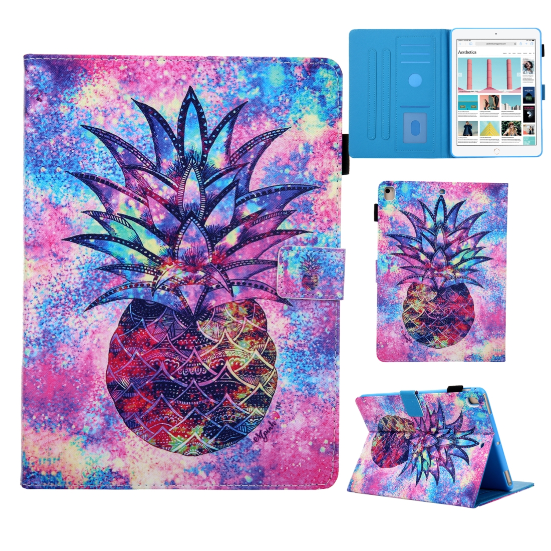 iPad 7th Generation Case (10.2 Inch) 3D Leather Case with Sleeve  (Pineapple)
