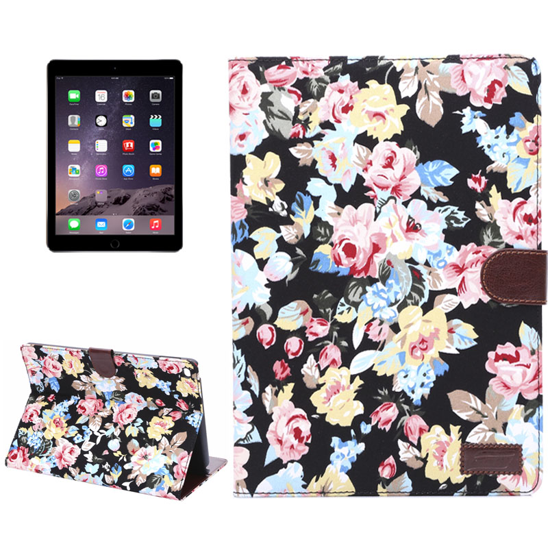 Flower Design &Sleeves & Auto Sleep For iPad Air 2 Case (Black)