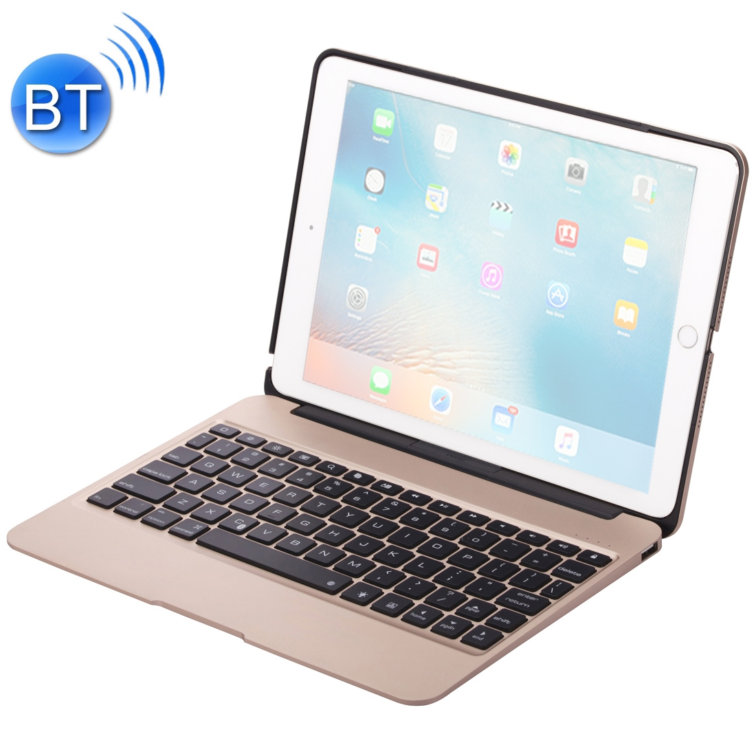 iPad Pro 12.9 Case With Keyboard (2018-20) With Aluminum Case & Backlit Keyboard (Gold)