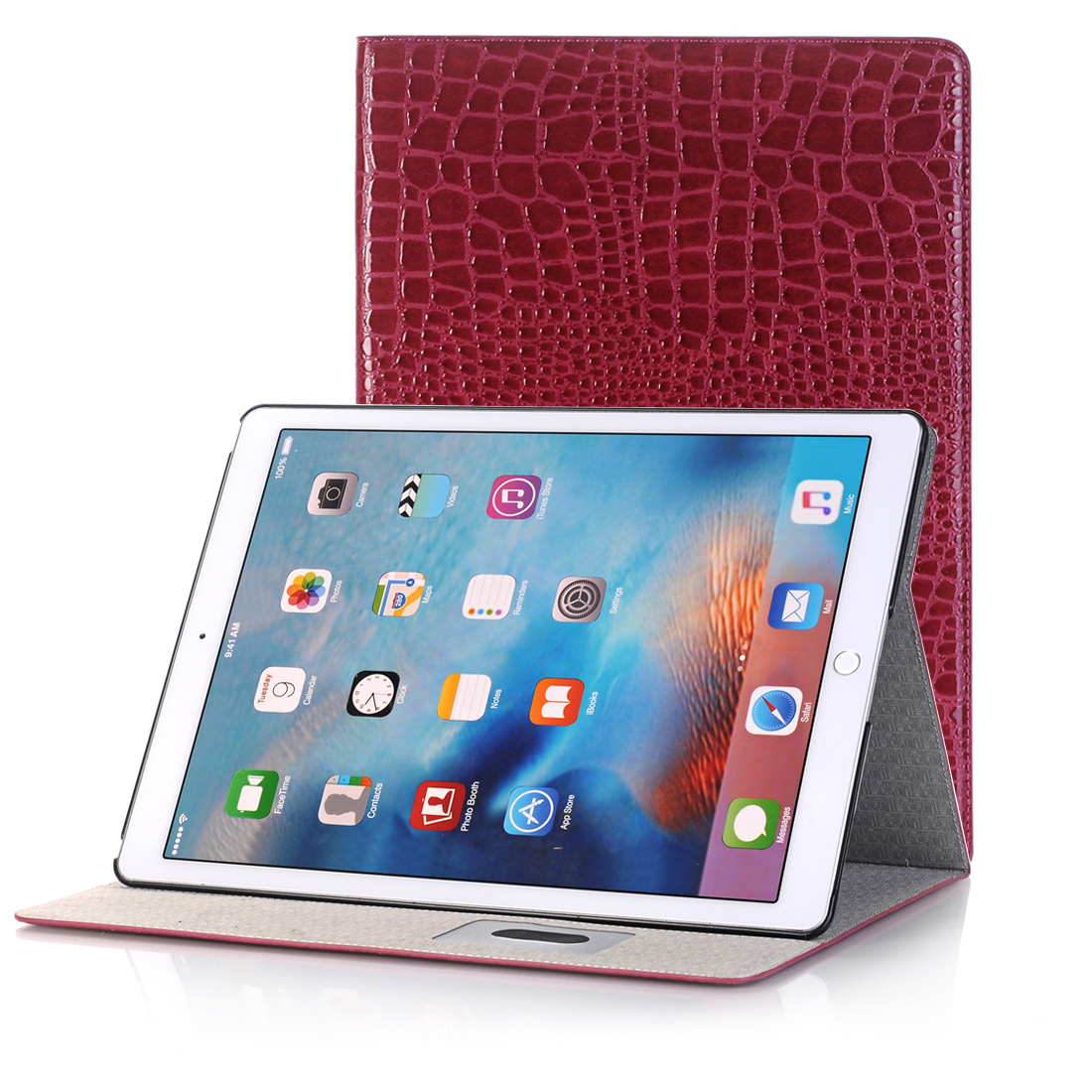 Crocodile Texture Leather Case, For iPad Air 2 Case With Slim Profile (Red)