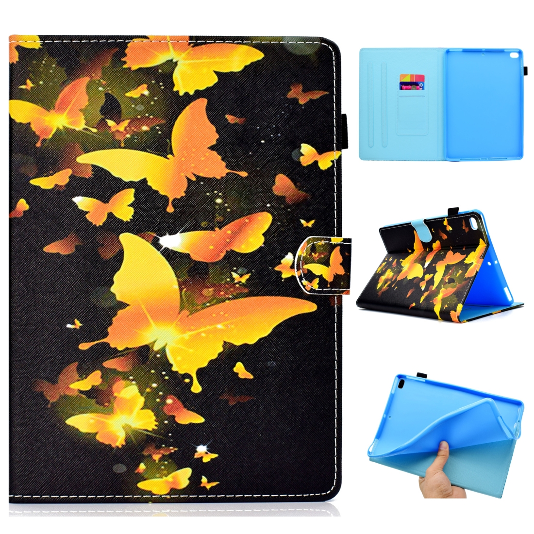 Case For iPad 5/ 6 Artistic Stitching Leather Case, with Sleeves & Auto Sleep function (Butterfly)