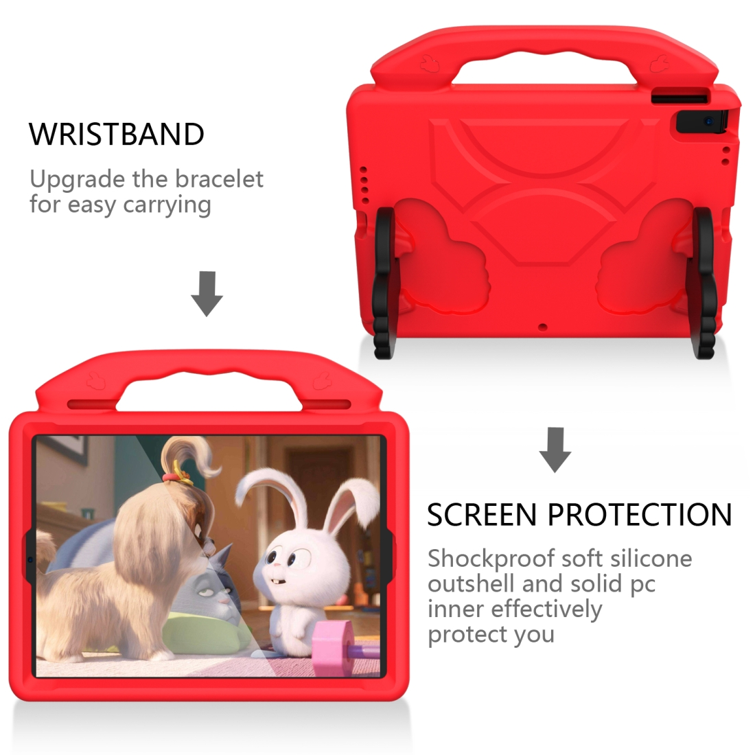 iPad 7th Generation Case (10.2 Inch)  Durable Protective Case & Bracket (Red)