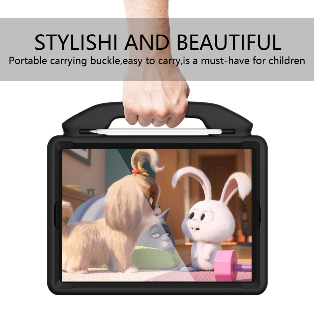 iPad 7th Generation Case (10.2 Inch)  Durable Protective Case & Bracket (Black)