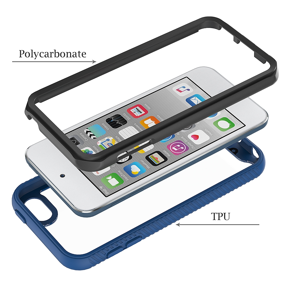For iPod Touch 5/ 6/ 7 Two-layer Design Shockproof PC/Protective Durable Casing (Blue)