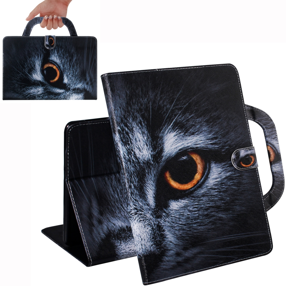 iiPad Air Kids Case, Fits iPad Air 2019, iPad 10.2 & iPad 10.5, Artsy Leather Design (Cat Face)