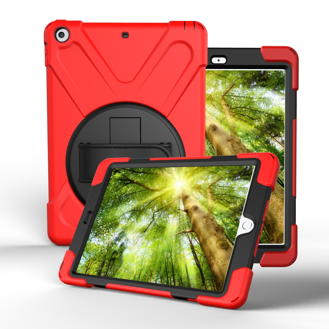 iPad 7th Generation Case (10.2 Inch) With A Protective Rotatable Design And Hand Strap (Red)