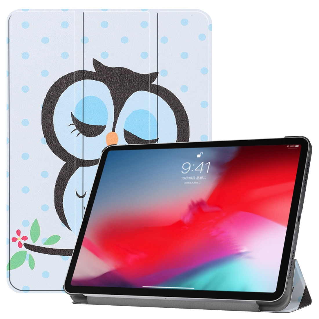 Blue Dots and Owl Painted Leather iPad Pro 11 Case (2018), w/ Tri-Fold Wake/ Auto Sleep