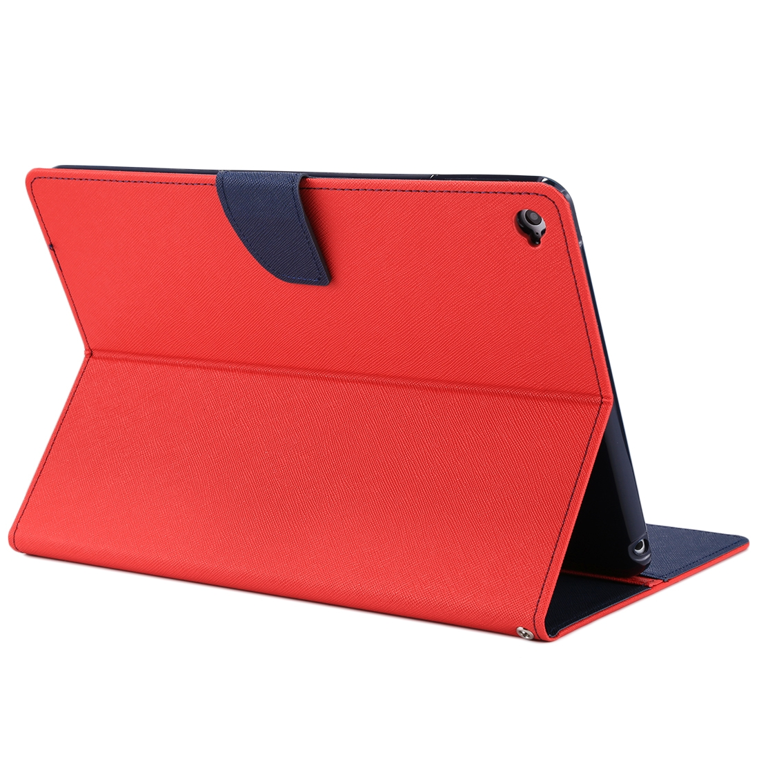 iPad Air 2 Case Cross Texture Leather Case with Sleeve, Holder  (Red)