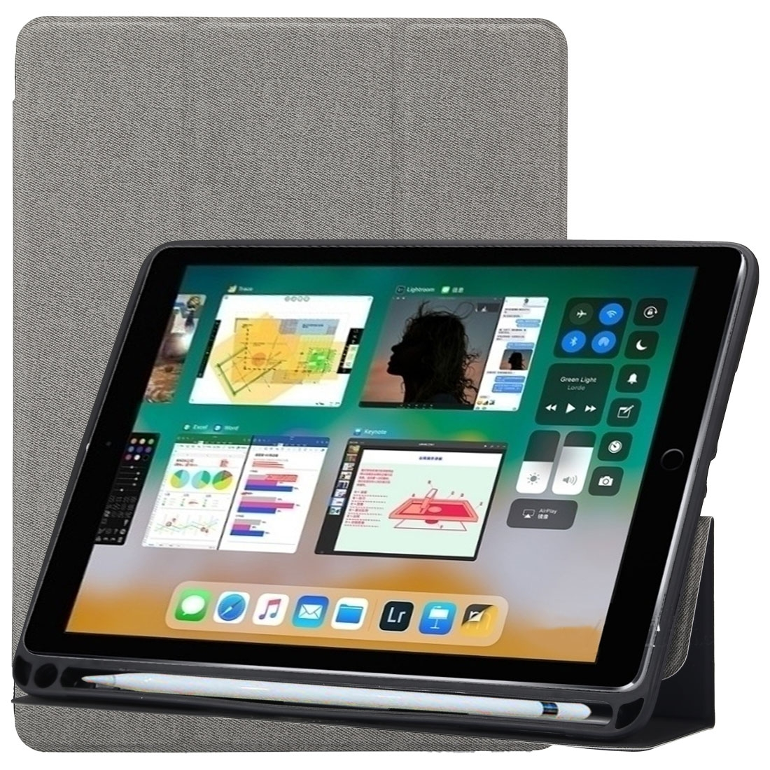 Cloth Texture Leather iPad Air 3 Case (10.5 Inch) ,with Pen Holders (Grey)