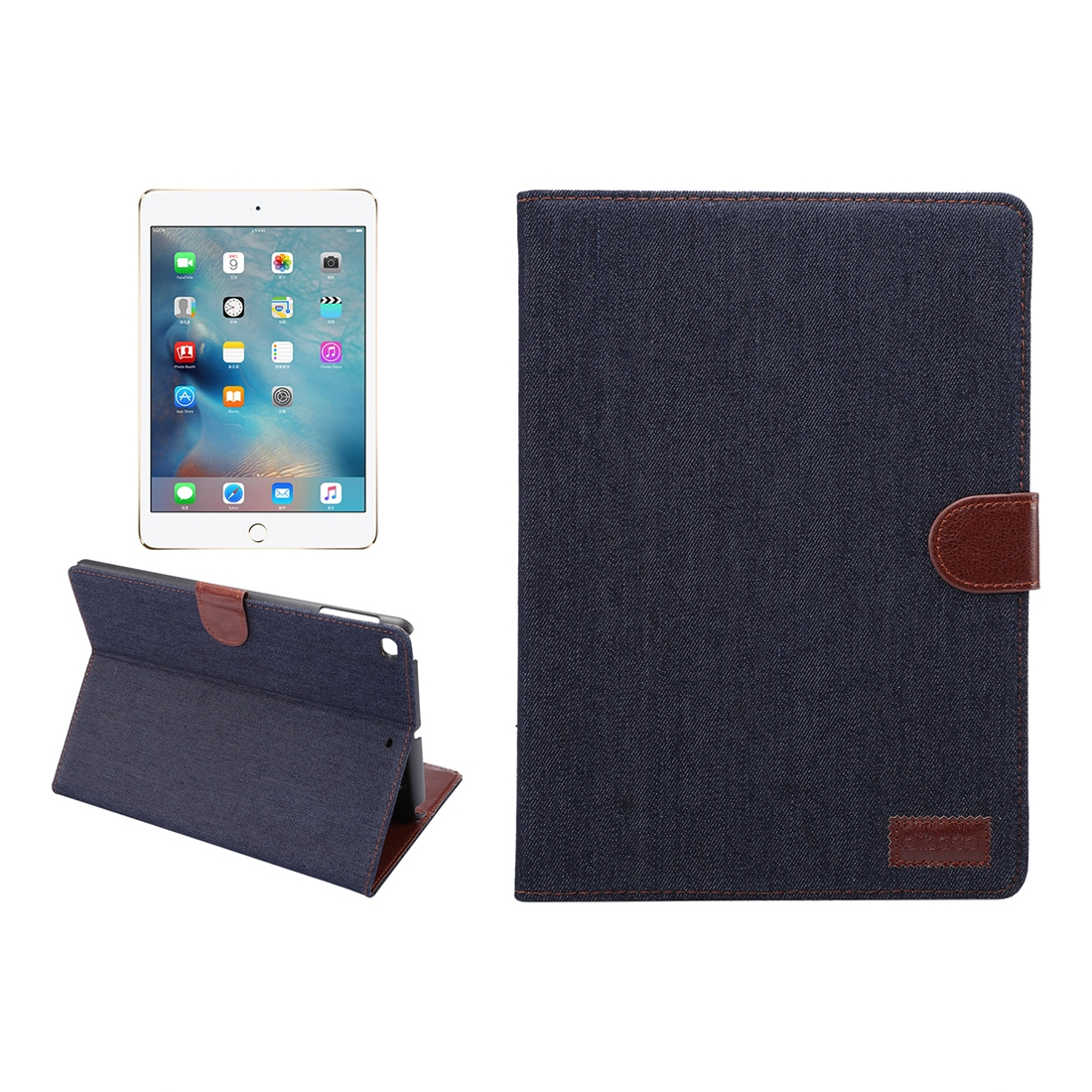 Designer Leather Case For New iPad 9.7 Inch iPad air (iPad5) & iPad air2 (iPad6), Auto Sleep (Black)