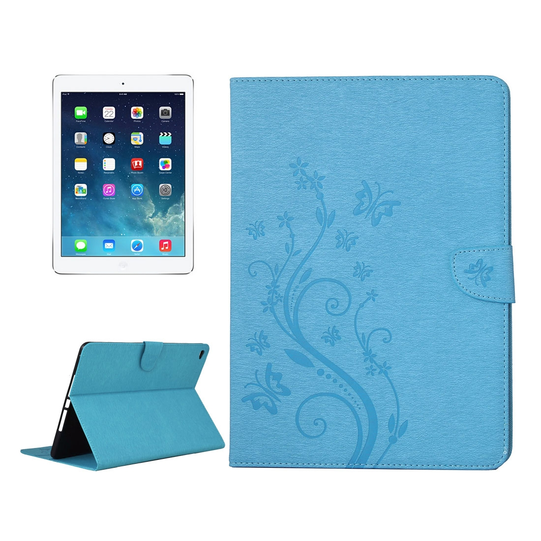 iPad Air 2 Case Floral Butterfly Leather Case with Magnetic Closure, Slim Profile (Blue)