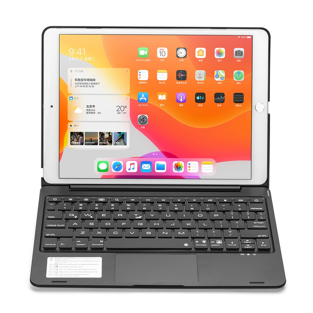iPad Case With Keyboard & Bluetooth For iPad 10.2 Inch With Backlit Touchapd Keyboard (Black)