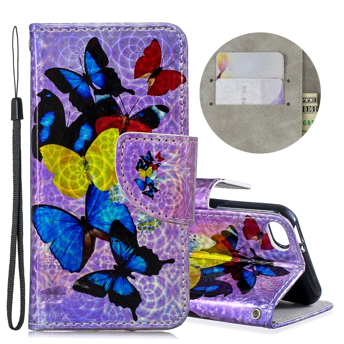 Dazzle Colorful Leather Case w/ Slim Profile & Lanyard For iPod Touch 5/6 (Seven Butterflies)