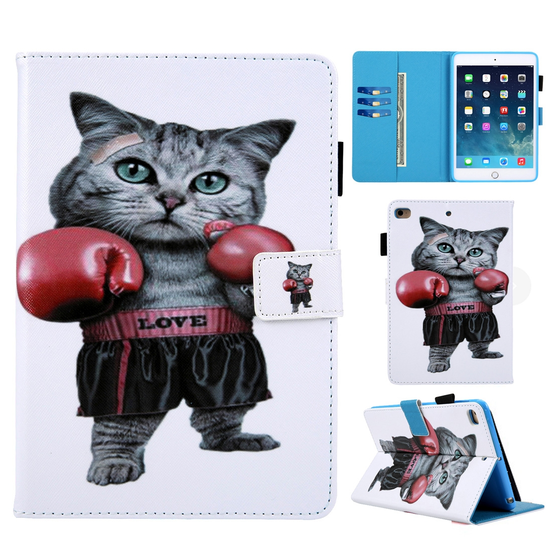Boxing Cat iPad 9.7 Case (2017) (2018), Pro 9.7 (2016), Air/ Air 2, Slim Profile, Pen Holders
