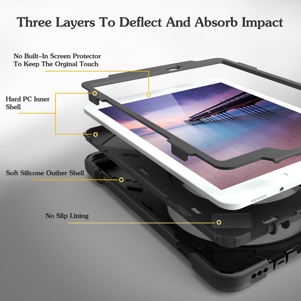 Rotating Silicone Protective Cover And Straps iPad 9.7 Case (2017) (2018) (White)
