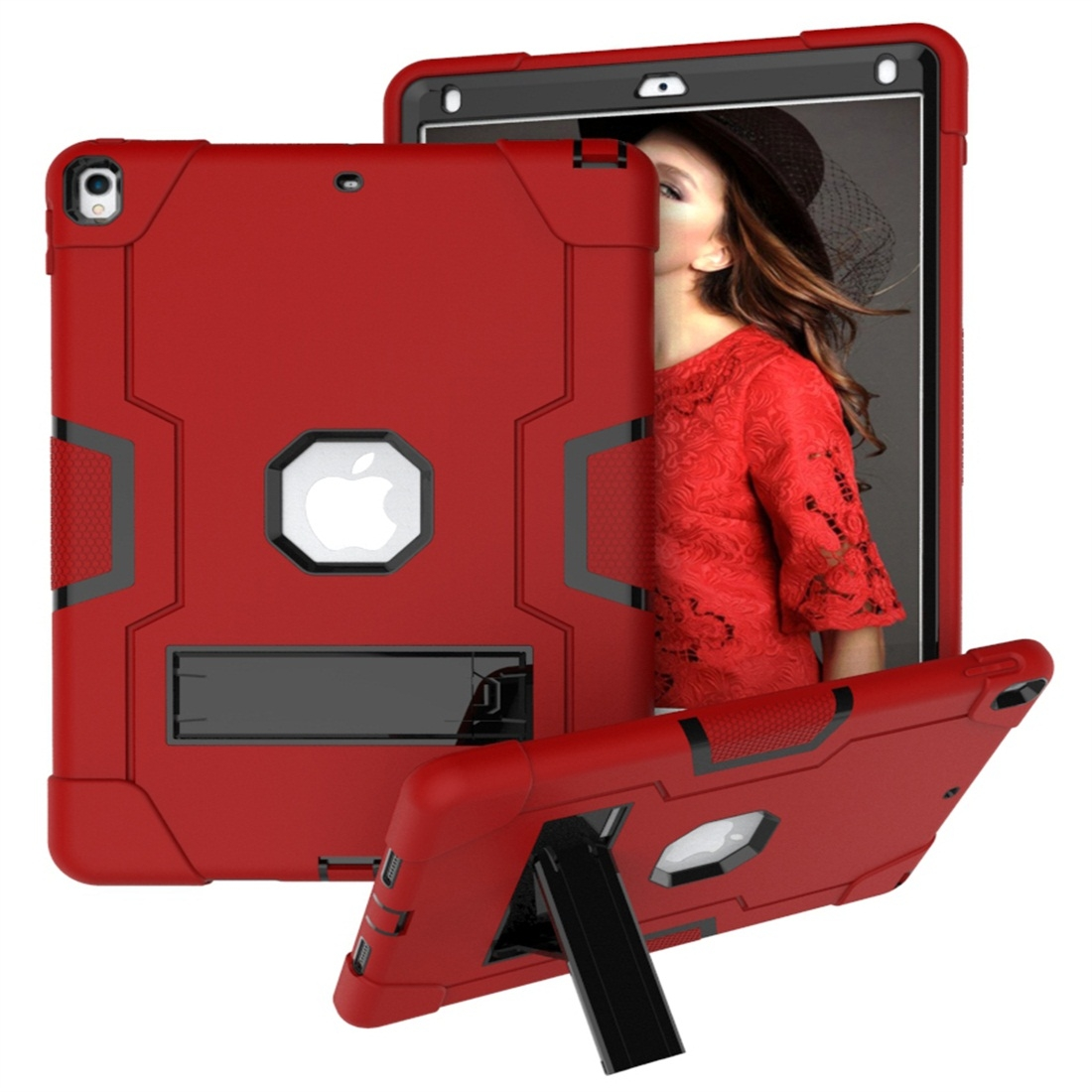 iPad 10.5 Case Contrasting Color Tough Durable Armor Case (Red/Black)
