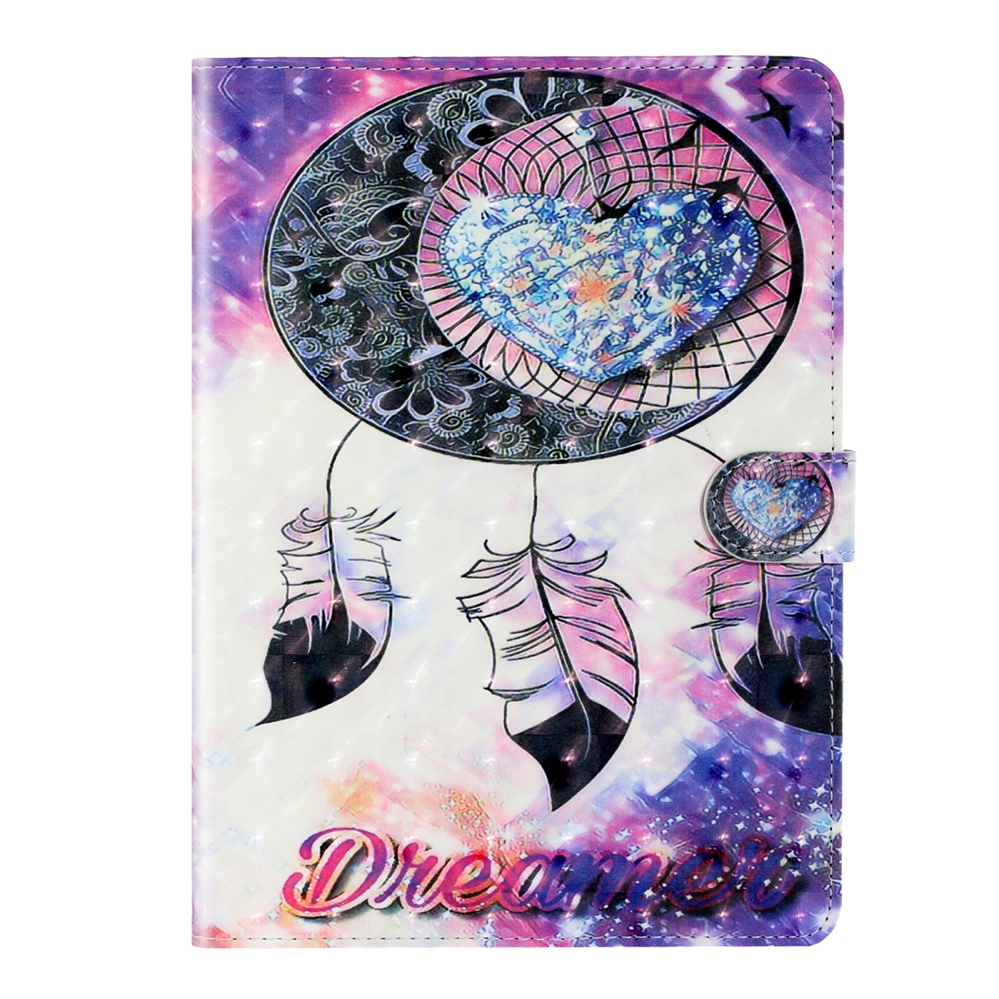 iPad 2 Case Fits iPad 2,3,4, With A Artsy Leather Design with Sleeve & Auto Sleep (Love Wind Chimes)