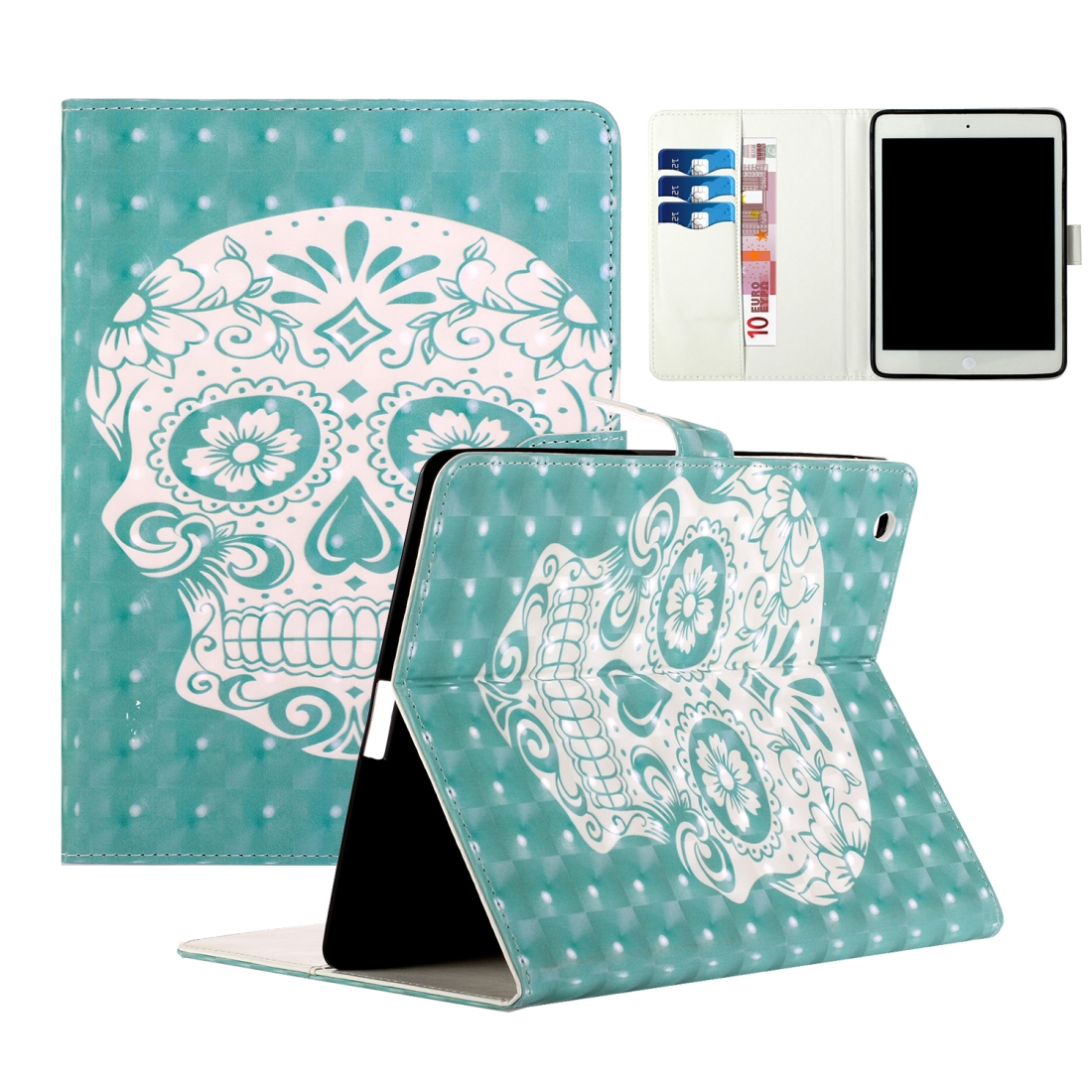 iPad 2 Case Fits iPad 2,3,4, With A Artsy Leather Design with Sleeve & Auto Sleep (Green Ghost)