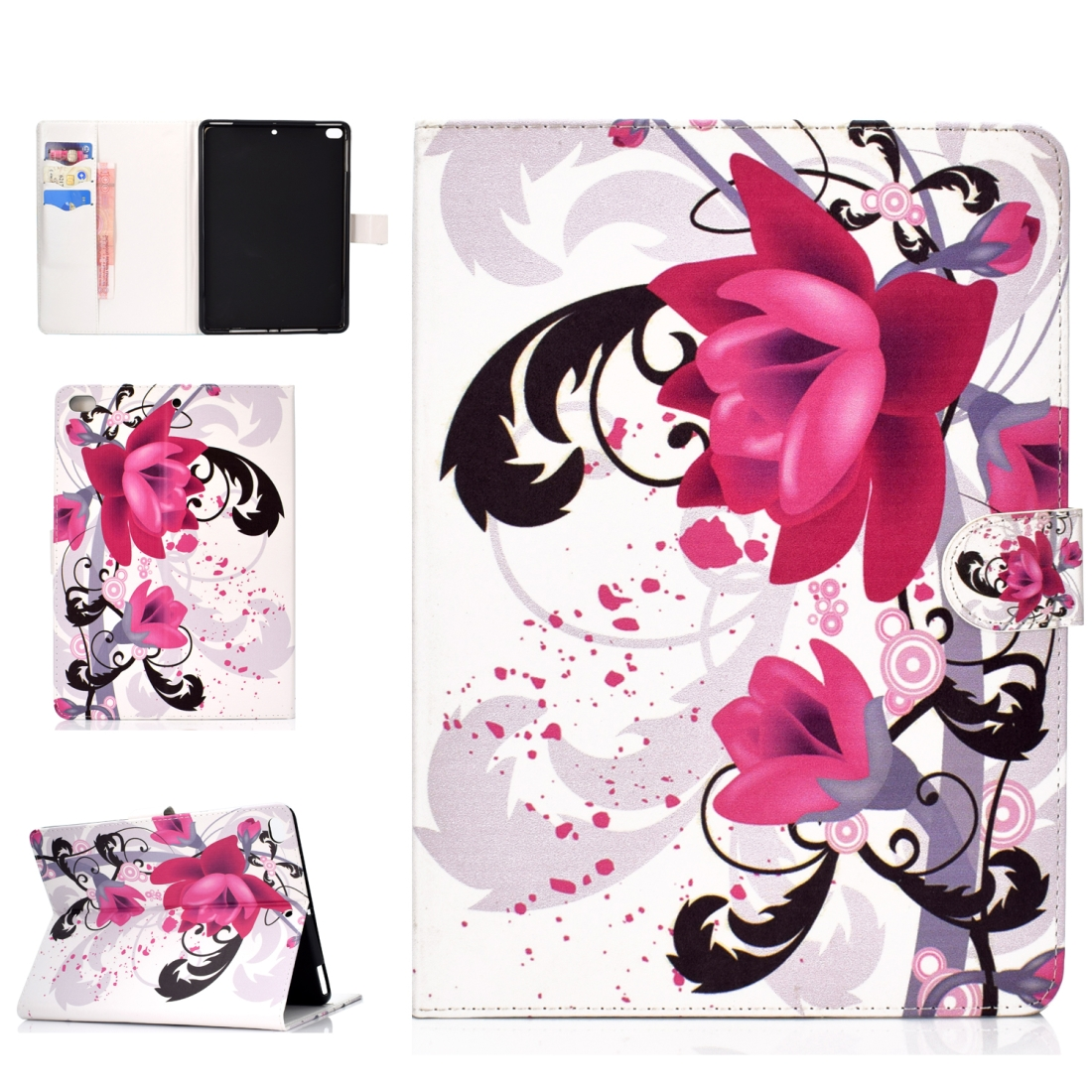 iPad 5th Generation Case Fits iPad 5,6,8, Stylish Leather Design & Auto Sleep Function (Flower)
