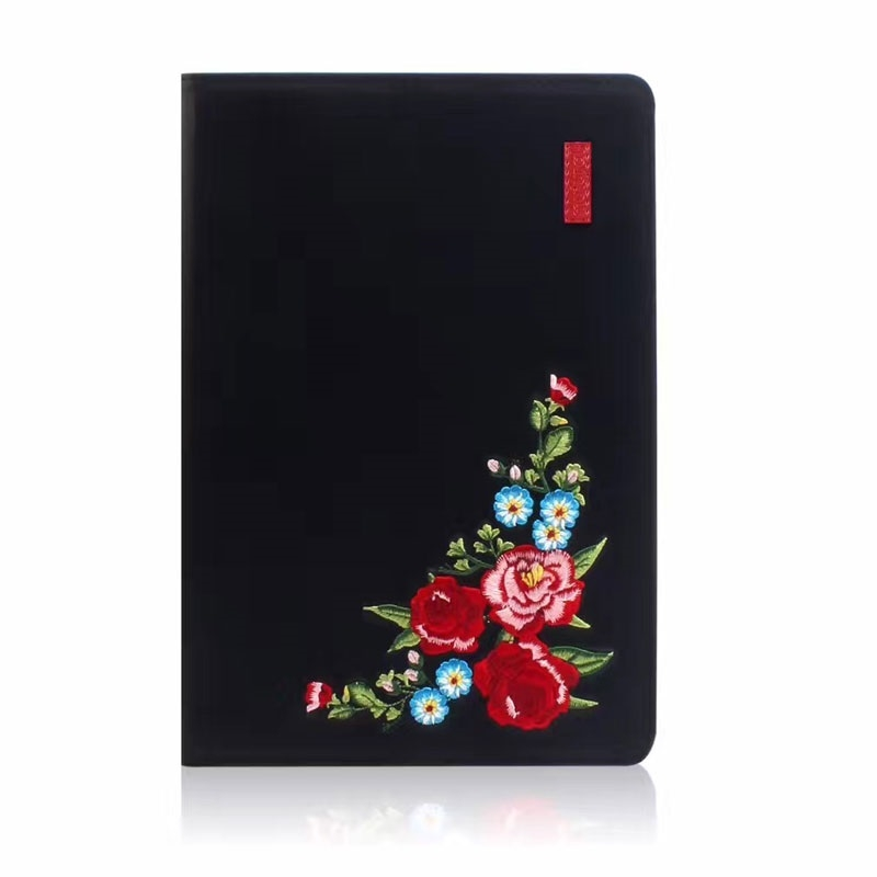 Flower Pattern Trendy Leather iPad Air 3 Case (10.5 Inch), with Auto Sleep (Black)