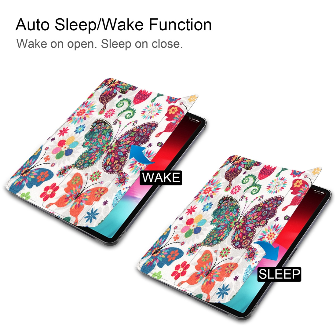 Colorful Butterflies Painted Leather iPad Pro 11 Case (2018), with 3-Fold Wake/ Auto Sleep