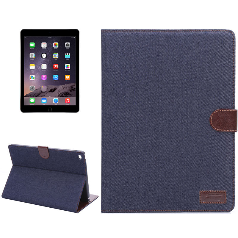 Denim Style Leather Case with Sleeves & Auto Sleep For iPad Air 2 Case (Black)