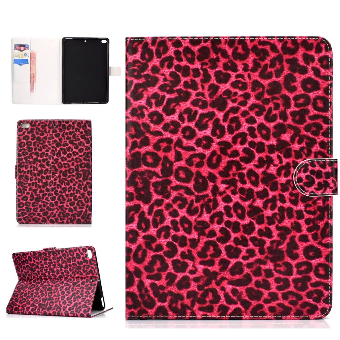 iPad 5th Generation Case Fits iPad 5,6,8, Stylish Leather Design & Auto Sleep Function (Red Leopard)