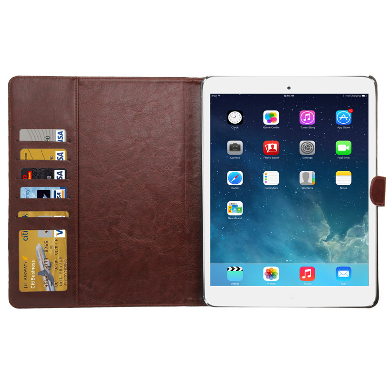 iPad 2 Case Fits iPad  2, 3, 4, Denim Textured Leather Case With Sleeves And Holder (Baby Blue)