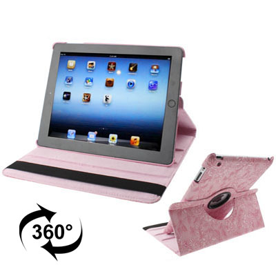 iPad 2 Case Fits iPad 2,3,4 & New iPad 3 With Leather Floral Design, Rotatable & Auto Sleep (Pink)