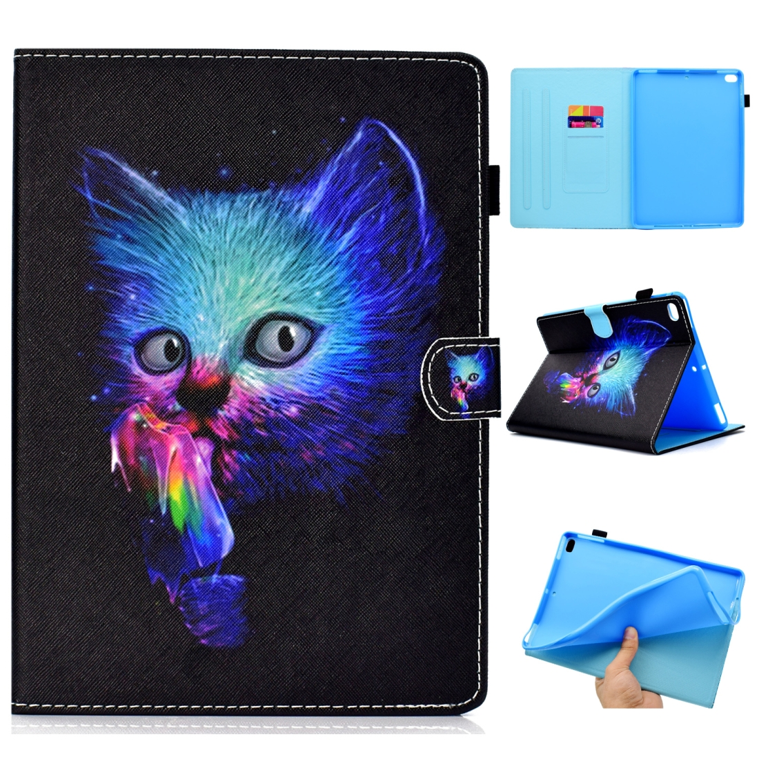 Case For iPad 5/ 6 Artistic Stitching Leather Case, with Sleeves & Auto Sleep function (Super Cat)
