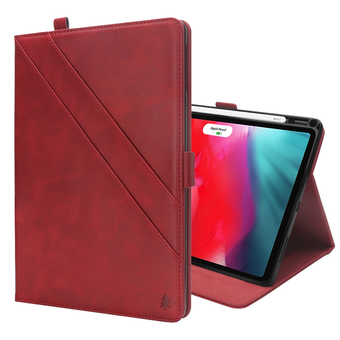 Bi-Stand Leather iPad Pro 12.9 Case (2018), w/Sleeves, Frame, Pen Holder (Red)
