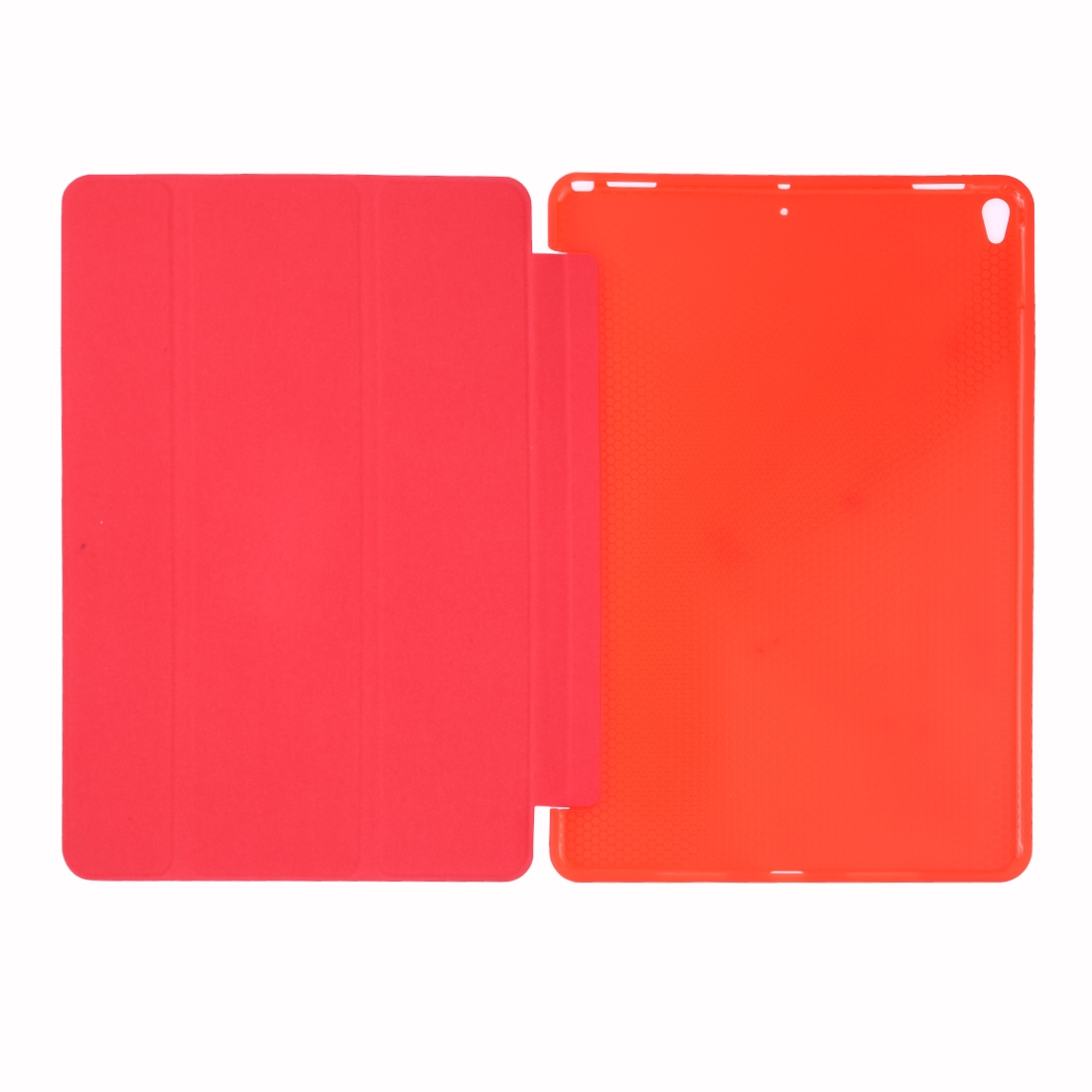 Silk Textured Leather iPad Air 2 Case (2019)/ Pro 10.5 inch, w/Tri-Fold Auto Sleep (Red)
