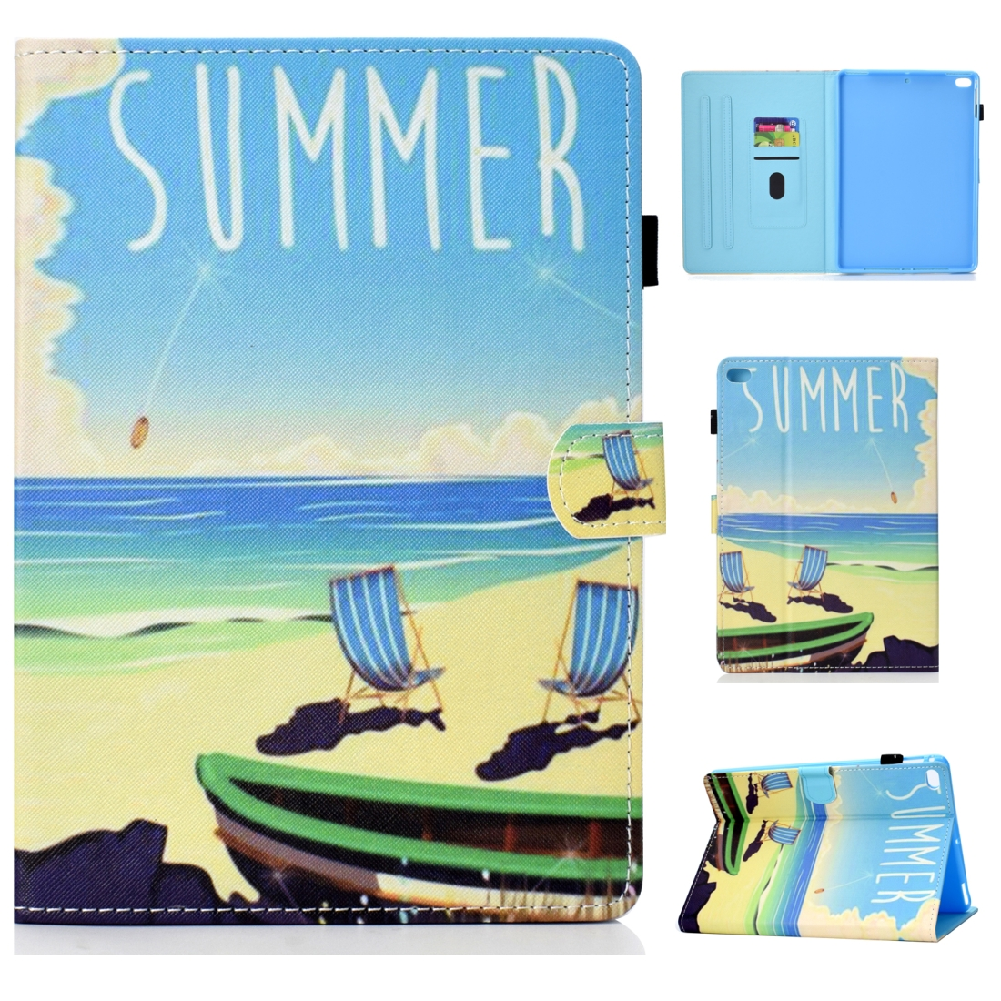 Case For iPad 5/ 6/ 8 Artistic Stitching Leather Case, with Sleeves (Beach)