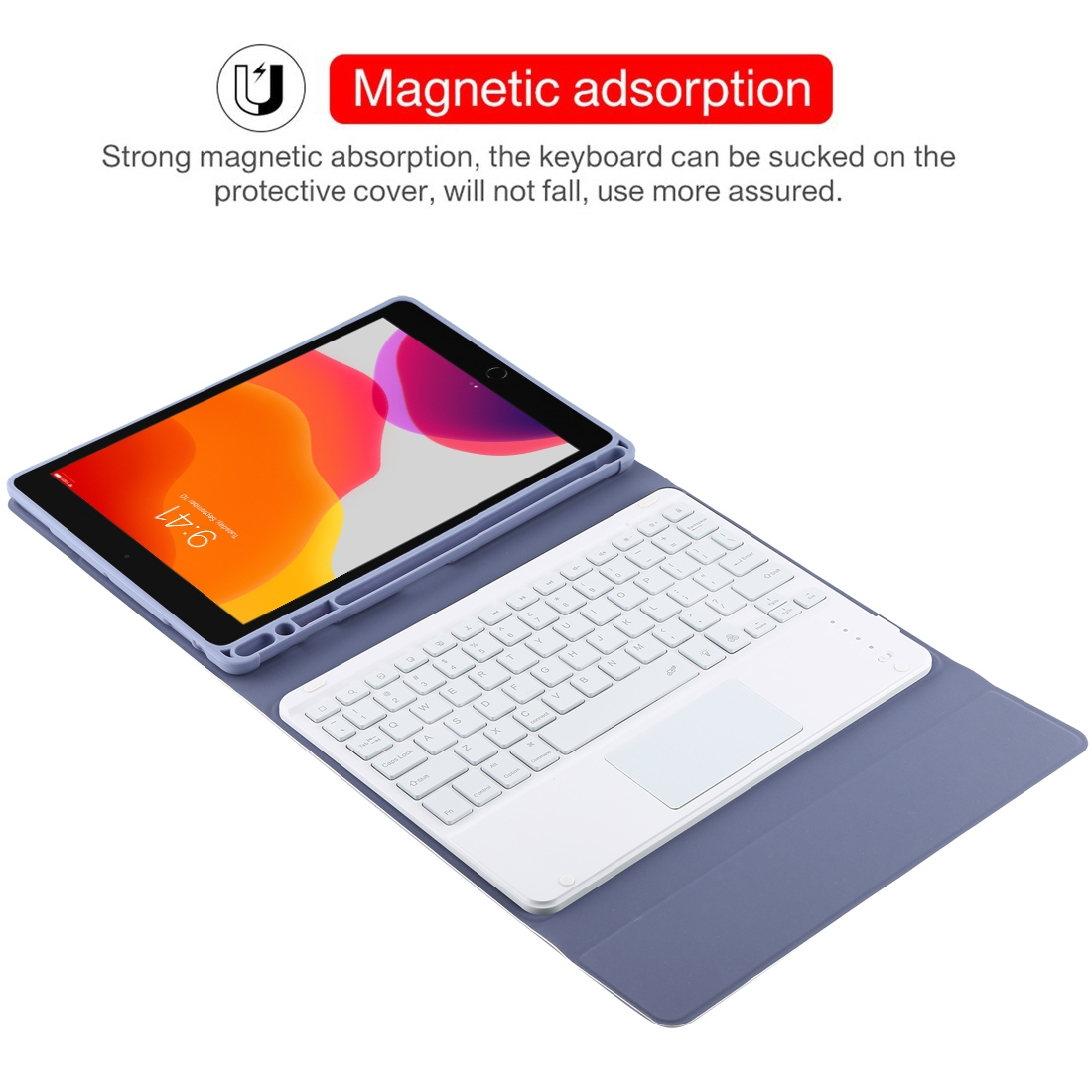 iPad Air Case With Keyboard For iPad 10.2/Air (2019) Leather Case With Backlit Keyboard (Purple)