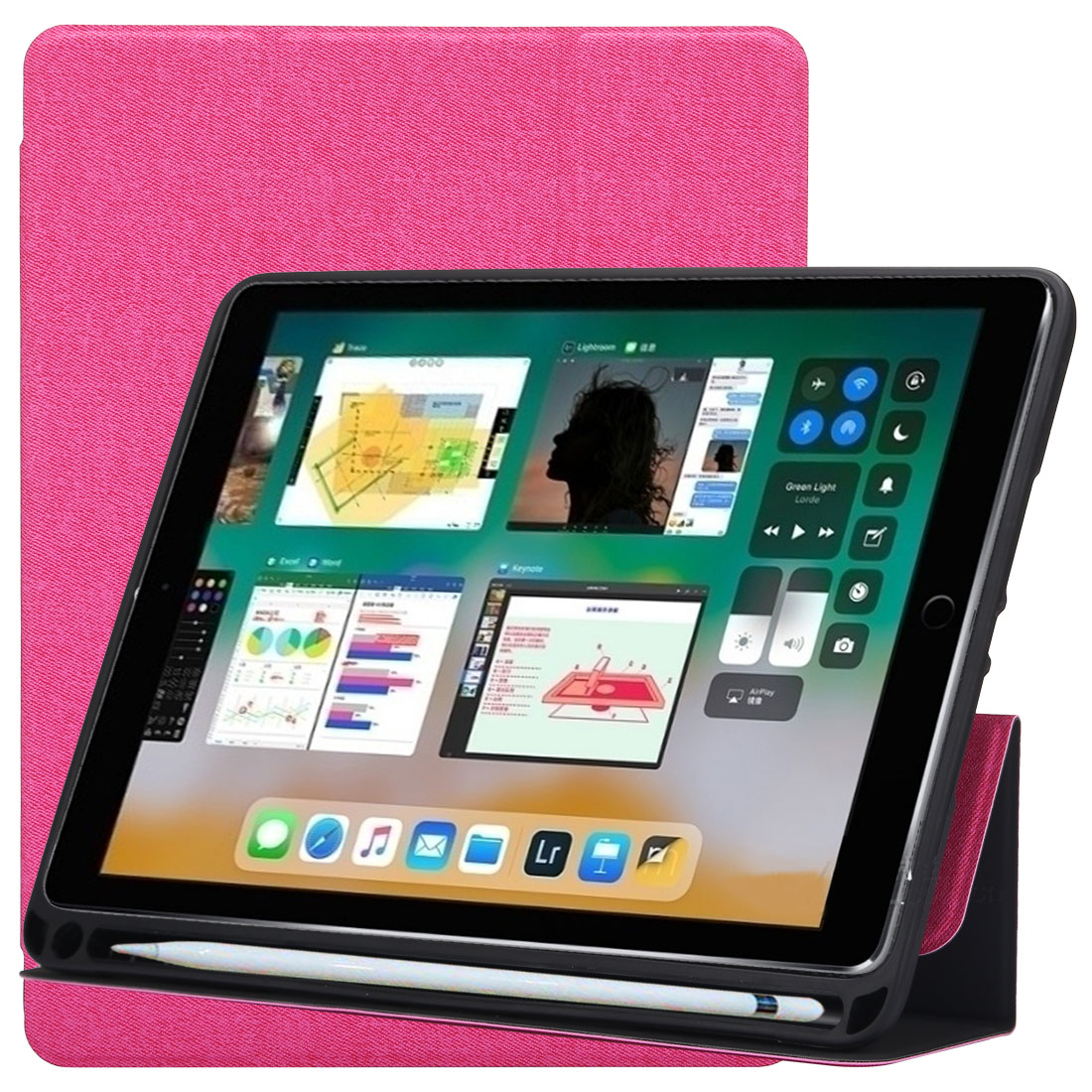 Cloth Texture Leather iPad Air 3 Case (10.5 Inch) ,with Pen Holders (Magenta)