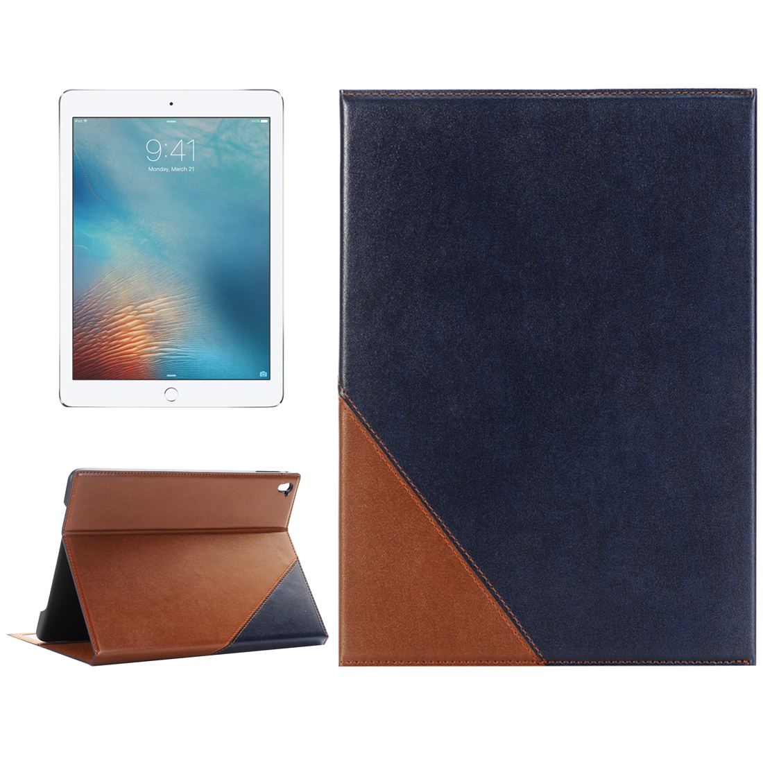 Book Style Leather iPad Air 2 Case (9.7 Inch), Slim Profile (Dark Blue)