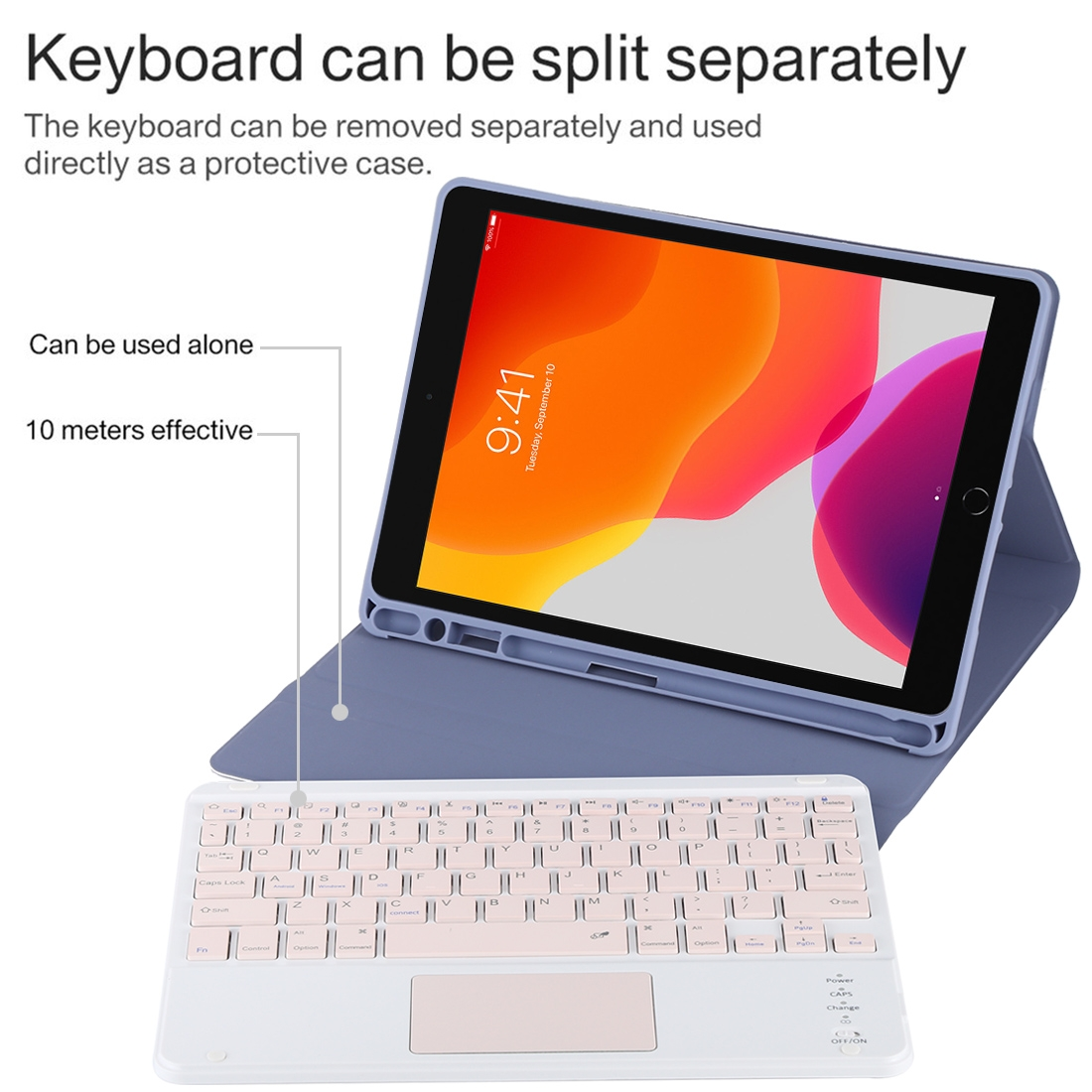 iPad Air Case With Keyboard For iPad 10.2/Air (2019) Leather Case With Touchpad & Bluetooth (Purple)