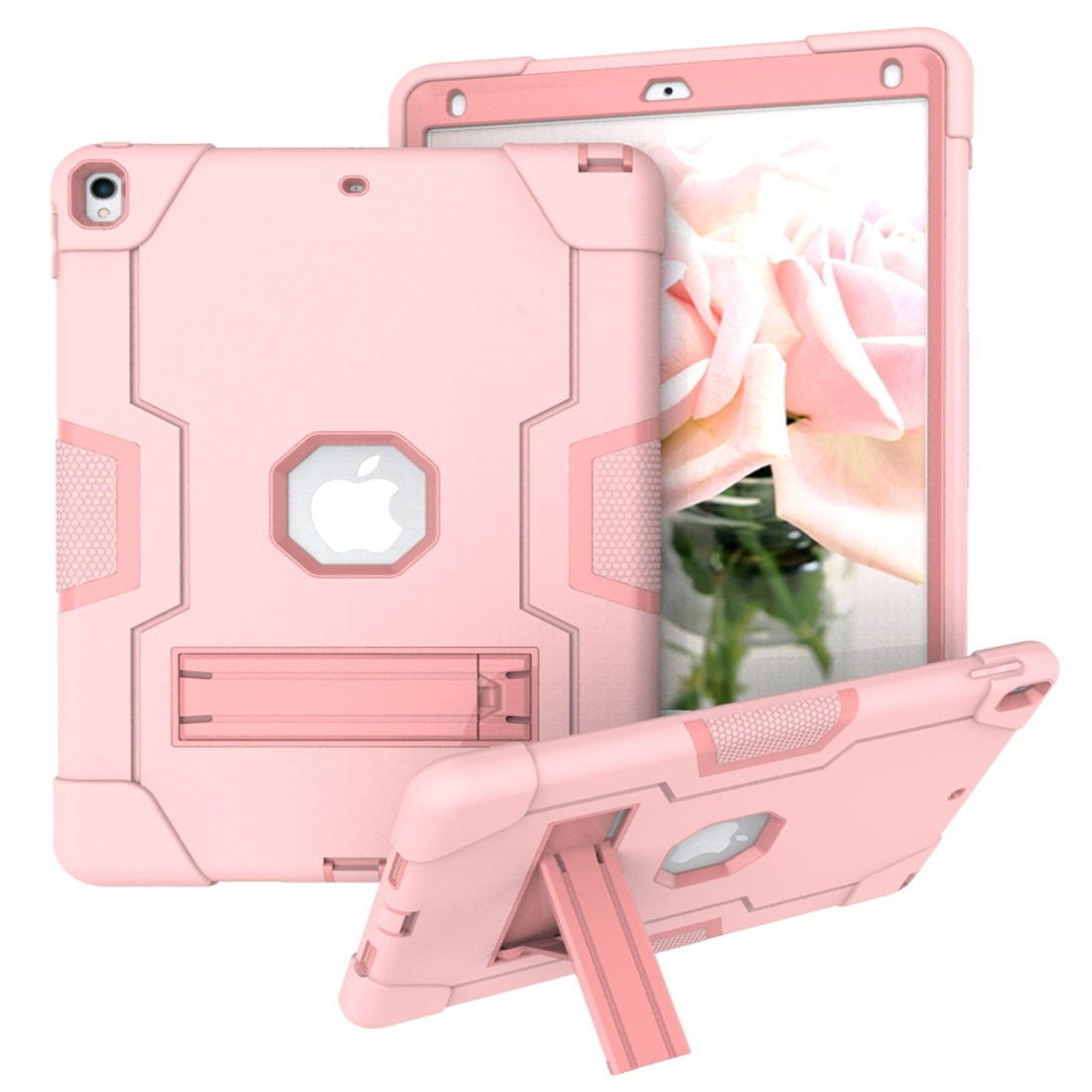 iPad 10.5 Case Contrasting Color Tough Durable Armor Case (Rose Gold)